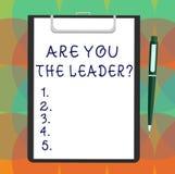 Ordhandstiltext är dig Leaderquestionen Affärsidé för ledarskap som visar ta omsorg av det tomma arket för företag av royaltyfri illustrationer