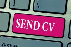 Ordhandstiltext överför CV Affärsidé för Give meritförteckningprogrammet - vitae för att applicera till jobbrekrytering arkivfoton