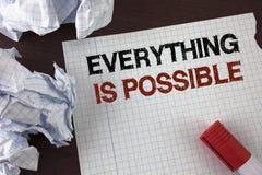 Ordhandstiltext allt är möjlig Affärsidé för alla som du tänker, eller drömmen kan bli riktigt optimistiskt skriftligt på reva N arkivbild