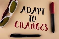 Ordhandstiltext anpassar till ändringar Affärsidé för innovativ ändringsanpassning med teknologisk evolution som är skriftlig på  Arkivfoton