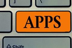 Ordhandstiltext Apps Affärsidé för en applikation speciellt som nedladdad av en användare till en mobil enhet royaltyfri fotografi