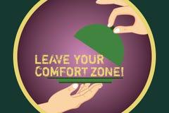 Ordhandstiltext att lämna din komfortzon Affärsidé för Make ändringar att utveckla för att växa för att ta nya tillfällen Hu vektor illustrationer