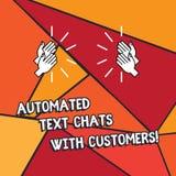 Ordhandstiltext automatiserade textpratstunder med kunder Affärsidé för för pratstundbot för konstgjord intelligens Hu analys stock illustrationer