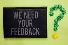 Ordhandstiltext behöver vi din återkoppling Affärsidéen för Give oss dina granskningtankar kommenterar vad för att förbättra grön fotografering för bildbyråer