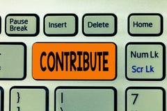 Ordhandstiltext bidrar Affärsidé för Give för att att hjälpa att uppnå eller ge något för att hjälpa arkivbilder