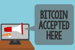 Ordhandstiltext Bitcoin som här accepteras Affärsidéen för dig kan inhandla saker till och med Cryptocurrencies att alarmera fram Arkivbilder