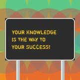 Ordhandstiltext din kunskap är vägen till din framgång Affärsidé för utbildning en tangent för det rektangulära framstegmellanrum fotografering för bildbyråer