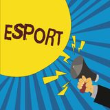 Ordhandstiltext Esport Affärsidéen för multiplayer videospel spelade konkurrenskraftigt för åskådare och gyckel stock illustrationer