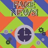 Ordhandstiltext fejkar nyheterna Affärsidé för falska berättelser som verkar att fördela på internet genom att använda annat mass stock illustrationer