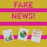Ordhandstiltext fejkar nyheterna Affärsidé för falska berättelser som verkar att fördela på internet genom att använda annat mass vektor illustrationer