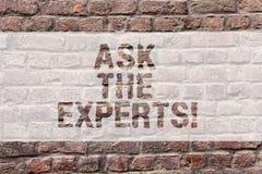 Ordhandstiltext frågar experterna Affärsidé för Look for en yrkesmässig vägg för tegelsten för rådgivningkonsultationservice arkivfoton