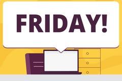 Ordhandstiltext fredag Affärsidéen för den sista dagen av arbetsveckastarthelgen kopplar av enormt anförande för tidmellanrum royaltyfri illustrationer