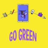Ordhandstiltext går gräsplan Affärsidéen för framställning av mer miljövänlig beslut som förminskar återanvänder stock illustrationer