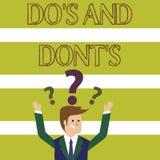 Ordhandstiltext gör S och gör inte S Affärsidé för regler eller egenar angående några förväxlade aktivitet eller handlingar stock illustrationer