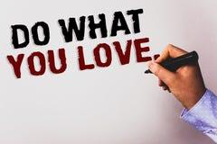 Ordhandstiltext gör vad du älskar Affärsidé för positiv baksida för Desire Happiness Interest Pleasure Happy prima textvit arkivbild