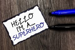 Ordhandstiltext Hello är jag A superhero Affärsidé för special bordere för svart för styrka för egenar för överhettecknad filmtec fotografering för bildbyråer