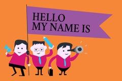 Ordhandstiltext Hello mitt namn är Affärsidé för introduktion till nya folkarbetare som presentation stock illustrationer