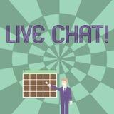Ordhandstiltext Live Chat Affärsidé för realtidsmassmediakonversation direktanslutet att meddela affärsmannen Smiling vektor illustrationer