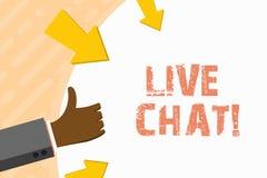 Ordhandstiltext Live Chat Affärsidé för rengöringsdukservice som låter affärer eller vänner meddela handen royaltyfri illustrationer
