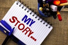 Ordhandstiltext min berättelse Affärsidé för portföljen för profil för personlig historia för biografiprestation som är skriftlig royaltyfri bild