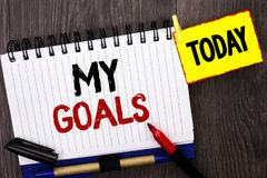 Ordhandstiltext mina mål Affärsidé för vision för mål för plan för karriär för beslutsamhet för målsyftestrategi som saklig är sk Arkivbild