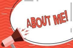 Ordhandstiltext om mig Affärsidé för sätt för etikett för tecken för personlighetsuppförandeinställning individuellt stock illustrationer