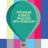 Ordhandstiltext rationaliserar affärsprocessar med Workflow Affärsidé för social massmediaprocess tre för dator stock illustrationer