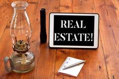 Ordhandstiltext Real Estate Affärsidé för att äga egenskapen som består av tom land- eller byggnadshandstil arkivbilder