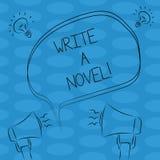 Ordhandstiltext skriver en roman Affärsidéen för är idérik skriva någon litteratur fiktion för att bli en Freehand författare stock illustrationer