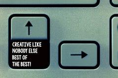 Ordhandstiltext som är idérik som inget Else Best Of The Best affärsidé för högkvalitativ kreativitettangentbordtangent arkivbilder