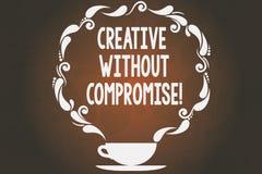 Ordhandstiltext som är idérik utan kompromiss Affärsidé för ett mått av goodwill och litet originalitetkopp och tefat royaltyfri illustrationer