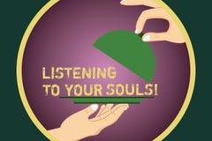 Ordhandstiltext som lyssnar till dina anda Affärsidé för meditationen som litar på dina instinkter fundersamma Hu stock illustrationer