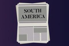 Ordhandstiltext Sydamerika Affärsidé för kontinenten i Latinos för västra halvklot som är bekanta för karneval vektor illustrationer