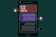 Ordhandstiltext talar du Englishquestion Affärsidé för den talande lärande mobila budbäraren Screen för olika språk fotografering för bildbyråer