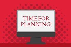 Ordhandstiltext Tid för att planera Affärsidé för start av ett projekt som gör beslut som organiserar schemamellanrumet royaltyfri illustrationer