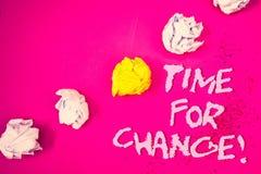 Ordhandstiltext Tid för Motivational appell för ändring Affärsidéen för övergång växer förbättrar omformar framkallar ordrosa fär arkivfoton