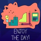 Ordhandstiltext tycker om dagen Affärsidé för den lyckliga livsstilen för njutning som kopplar av Tid royaltyfri illustrationer