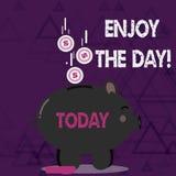 Ordhandstiltext tycker om dagen Affärsidé för den lyckliga livsstilen för njutning som kopplar av Tid stock illustrationer