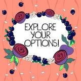 Ordhandstiltext undersöker dina alternativ Affärsidé för att att försöka ska få mer information för att göra ett beslut blom- royaltyfri illustrationer