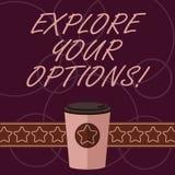 Ordhandstiltext undersöker dina alternativ Affärsidé för att att försöka ska få mer information för att göra ett kaffe för beslut vektor illustrationer