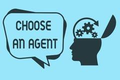 Ordhandstiltext väljer ett medel Affärsidé för Choose någon som väljer beslut på vägnar av dig stock illustrationer