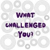 Ordhandstiltext vad utmanade dig Affärsidé för appell någon som deltar i konkurrenskraftigt läge royaltyfri illustrationer