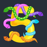 Ordinal number five for teaching children counting snake with the ability to calculate amount 5 animals abc alphabet Royalty Free Stock Images