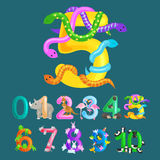 Ordinal number five for teaching children counting snake with the ability to calculate amount 5 animals abc alphabet Stock Photo