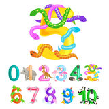 Ordinal number five for teaching children counting snake with the ability to calculate amount 5 animals abc alphabet royalty free illustration