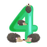 Ordinal number 4 for teaching children counting four hedgehogs with the ability to calculate amount animals abc alphabet Stock Photography