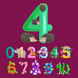 Ordinal number 4 for teaching children counting four hedgehogs with the ability to calculate amount animals abc alphabet Stock Photos