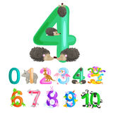 Ordinal number 4 for teaching children counting four hedgehogs with the ability to calculate amount animals abc alphabet Royalty Free Stock Photo