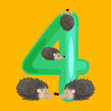 Ordinal number 4 for teaching children counting four hedgehogs with the ability to calculate amount animals abc alphabet Stock Images