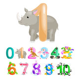 Ordinal number 1 for teaching children counting one rhino with the ability to calculate amount animals abc alphabet Royalty Free Stock Photo